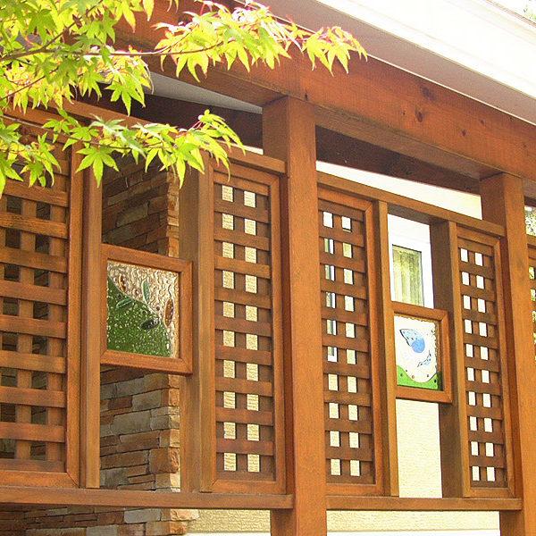 別荘の外構装飾ガラス